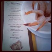 shrimp cocktail and menu