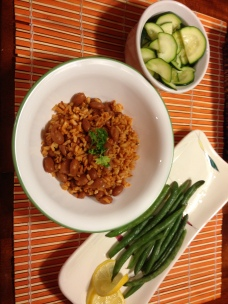 Pinto Beans and Rice with steamed zucchini and green beans