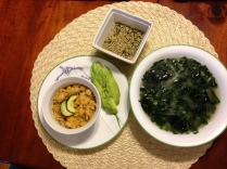 Mashed Chickpeas with Avocados and Miso Soup with Nori Gamasio