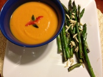 Sweet Potato and Roasted Red Pepper Bisque with roasted asparagus and almonds