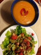 Sweet Potato and Red Bepper Bisque with Greek Salad